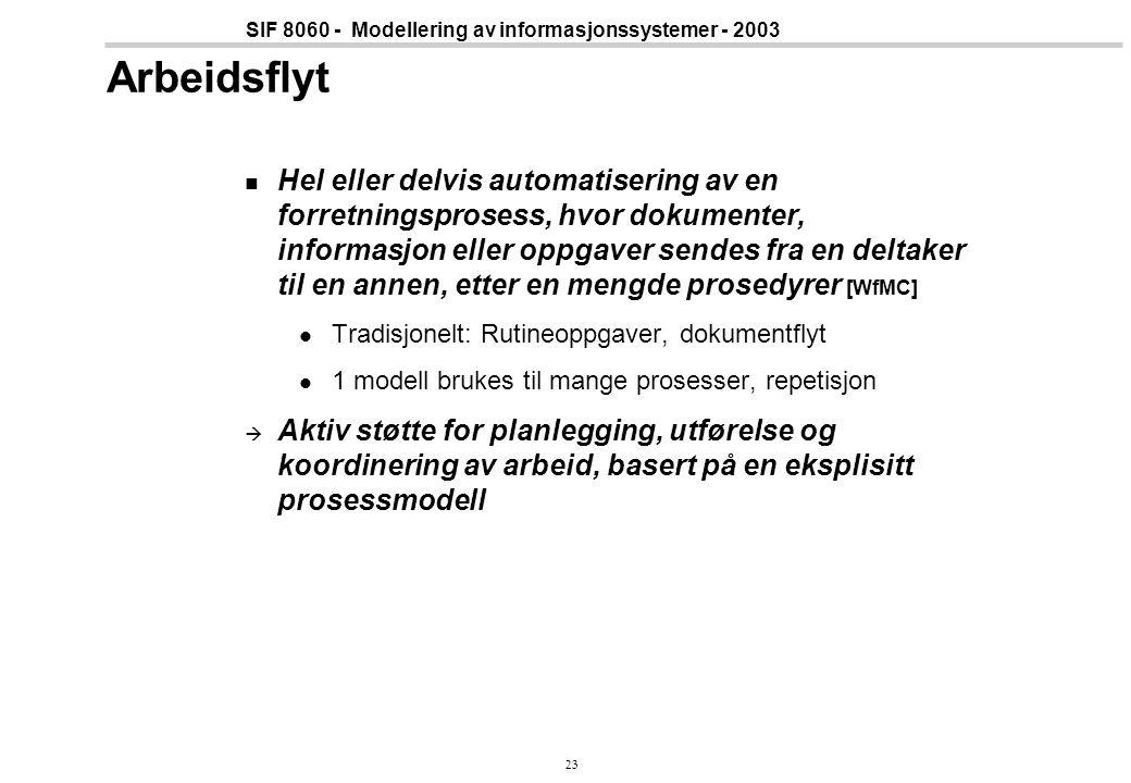 23 SIF 8060 - Modellering av informasjonssystemer - 2003 Arbeidsflyt Hel eller delvis automatisering av en forretningsprosess, hvor dokumenter, inform