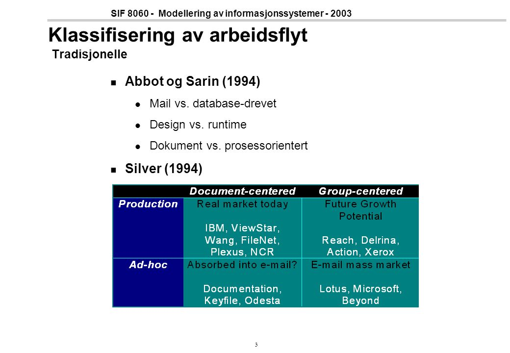34 SIF 8060 - Modellering av informasjonssystemer - 2003 Decisions and User Involvement Fallback mechanism When the model is inconclusive, a user is asked to make the decision Decisions also capture important exceptions Users may make a decision that overrides the planned flow of work Inconsistent states are captured Opportunistic involvement Starting work although not all inputs are ready