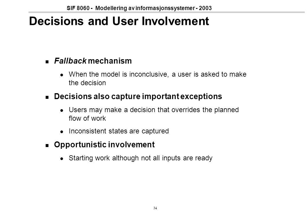 34 SIF 8060 - Modellering av informasjonssystemer - 2003 Decisions and User Involvement Fallback mechanism When the model is inconclusive, a user is a