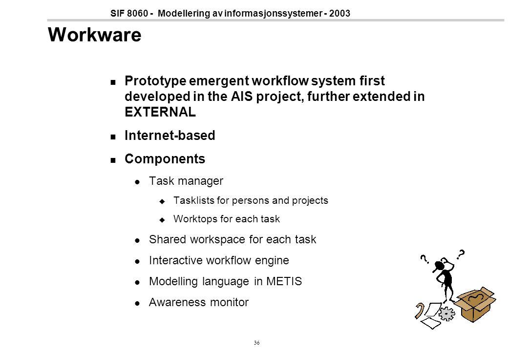 36 SIF 8060 - Modellering av informasjonssystemer - 2003 Workware Prototype emergent workflow system first developed in the AIS project, further exten