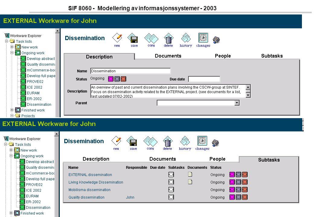 37 SIF 8060 - Modellering av informasjonssystemer - 2003 Tasklist