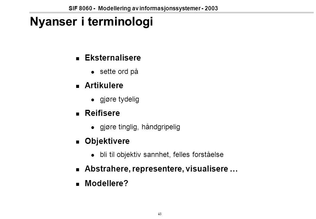 48 SIF 8060 - Modellering av informasjonssystemer - 2003 Nyanser i terminologi Eksternalisere sette ord på Artikulere gjøre tydelig Reifisere gjøre ti