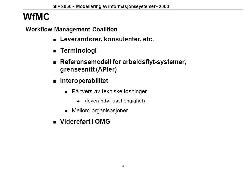8 SIF 8060 - Modellering av informasjonssystemer - 2003 WfMC Workflow Management Coalition Leverandører, konsulenter, etc. Terminologi Referansemodell