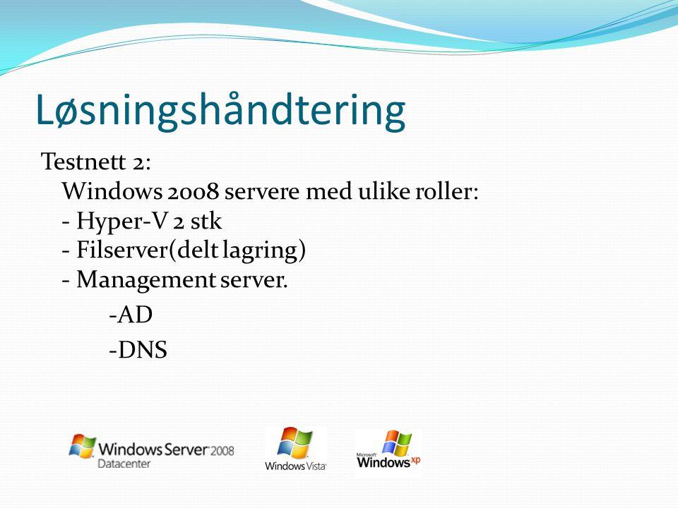 Løsningshåndtering Testnett 2: Windows 2008 servere med ulike roller: - Hyper-V 2 stk - Filserver(delt lagring) - Management server. -AD -DNS