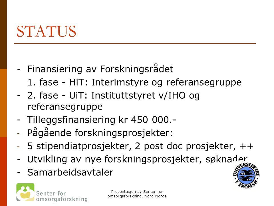 Presentasjon av Senter for omsorgsforskning, Nord-Norge STATUS -Finansiering av Forskningsrådet 1. fase - HiT: Interimstyre og referansegruppe -2. fas