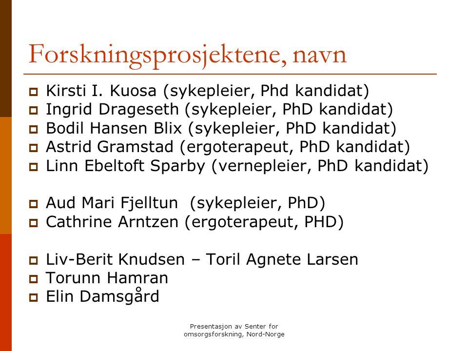 Presentasjon av Senter for omsorgsforskning, Nord-Norge Forskningsprosjektene, navn  Kirsti I. Kuosa (sykepleier, Phd kandidat)  Ingrid Drageseth (s
