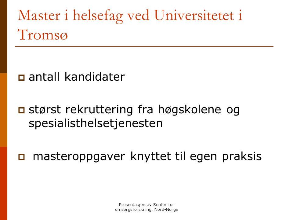 Presentasjon av Senter for omsorgsforskning, Nord-Norge Master i helsefag ved Universitetet i Tromsø  antall kandidater  størst rekruttering fra høg