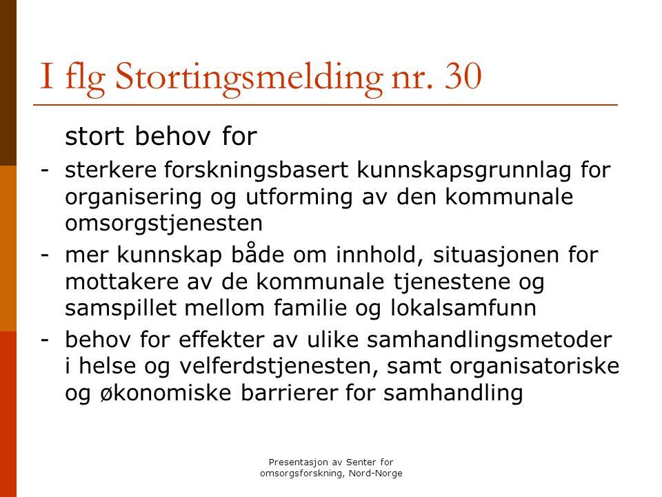 Presentasjon av Senter for omsorgsforskning, Nord-Norge Forskningsprosjektene - Identitetsbevarende omsorg for personer med Alzheimer sykdom og deres familier -Et samhandlings- og brukerperspektiv på lærings- og mestringsprosesser hos personer med hjerneslag og deres nærstående - Smertevurdering av eldre pasienter med demens som bor på sykehjem - Institusjon og lokalsamfunn