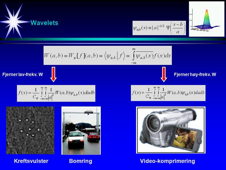 Wavelets KreftsvulsterBomringVideo-komprimering Fjerner lav-frekv. WFjerner høy-frekv. W