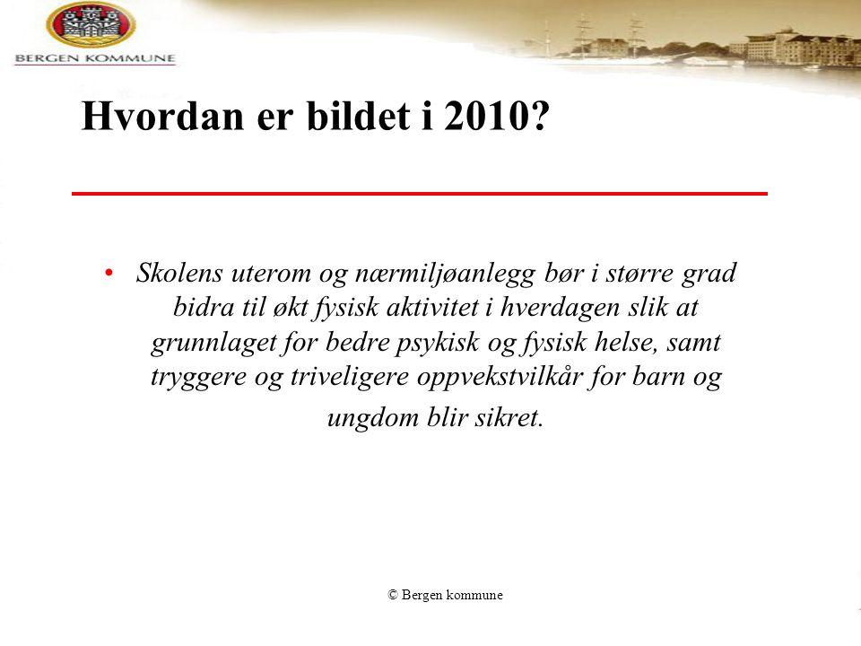 © Bergen kommune Hvordan er bildet i 2010? Skolens uterom og nærmiljøanlegg bør i større grad bidra til økt fysisk aktivitet i hverdagen slik at grunn