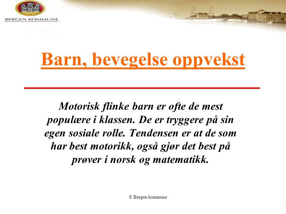 © Bergen kommune Tilrettelegging av inne- og uteaktiviteter for leik, idrett og fysisk aktivitet i skole og fritid Plass,rom, anlegg, areal til fysisk aktivitet der barna er
