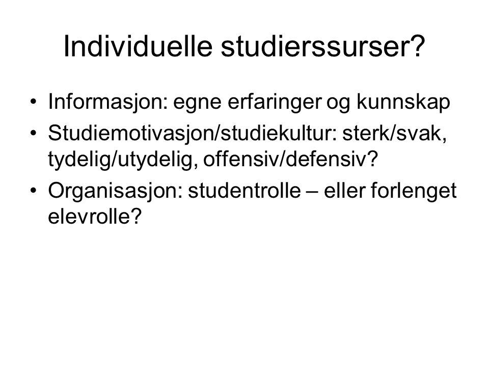 Individuelle studierssurser.