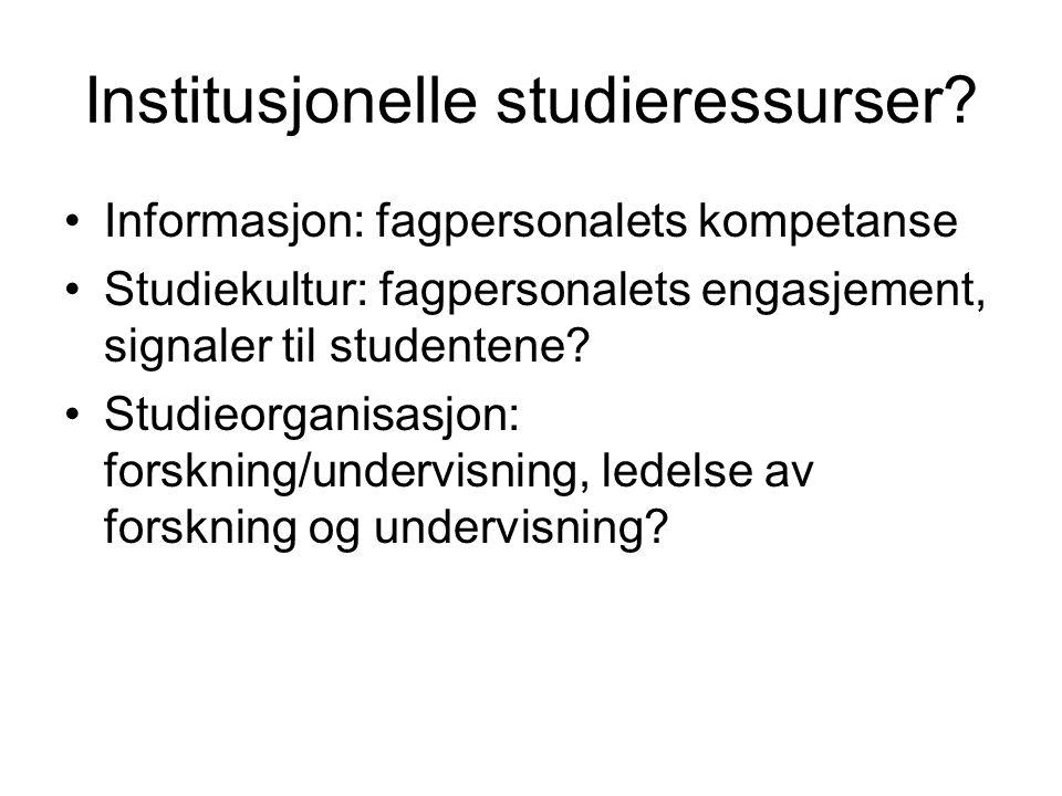 Institusjonelle studieressurser.