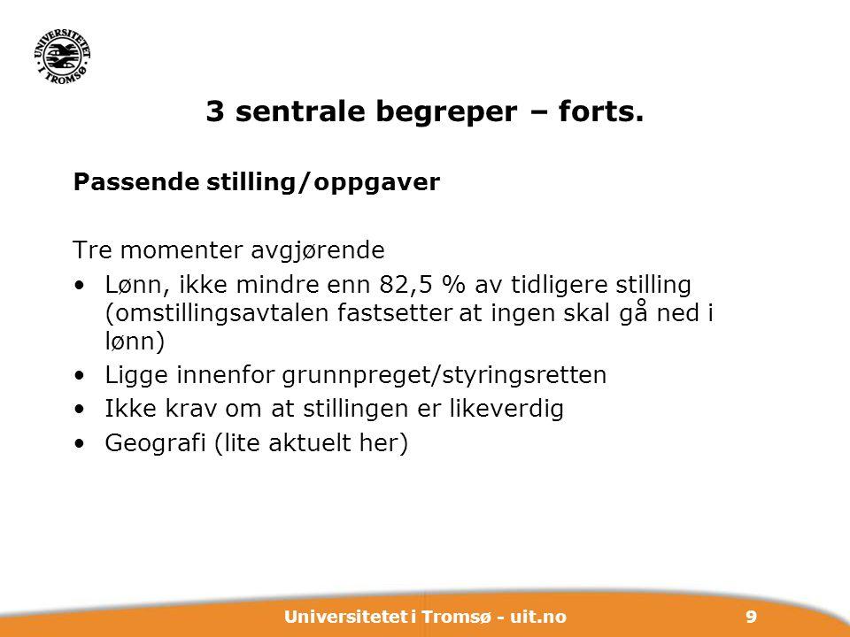 9Universitetet i Tromsø - uit.no 3 sentrale begreper – forts. Passende stilling/oppgaver Tre momenter avgjørende Lønn, ikke mindre enn 82,5 % av tidli