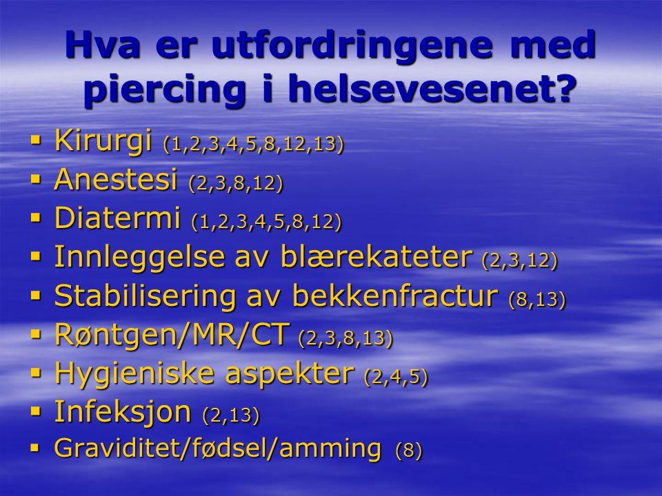 Hva er utfordringene med piercing i helsevesenet?  Kirurgi (1,2,3,4,5,8,12,13)  Anestesi (2,3,8,12)  Diatermi (1,2,3,4,5,8,12)  Innleggelse av blæ