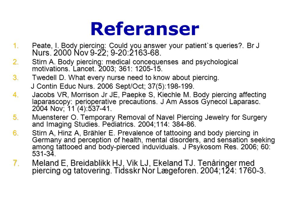 Referanser 1.Peate, I.Body piercing: Could you answer your patient`s queries?.
