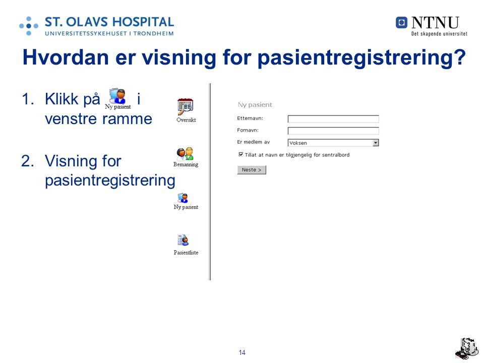 14 Hvordan er visning for pasientregistrering.