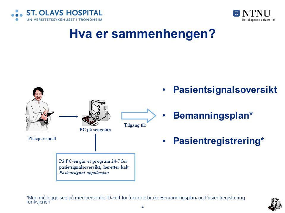 4 Hva er sammenhengen? Pasientsignalsoversikt Bemanningsplan* Pasientregistrering* Pleiepersonell Tilgang til: PC på sengetun *Man må logge seg på med
