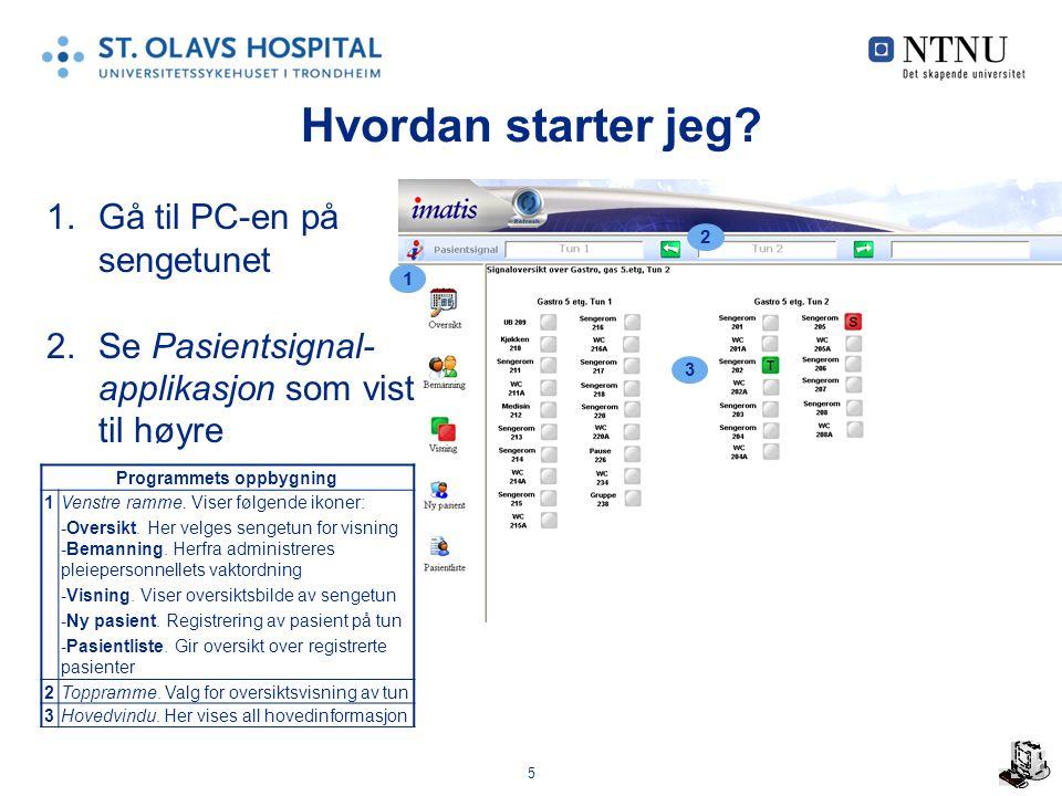 5 Hvordan starter jeg? 1.Gå til PC-en på sengetunet 2.Se Pasientsignal- applikasjon som vist til høyre Programmets oppbygning 1Venstre ramme. Viser fø