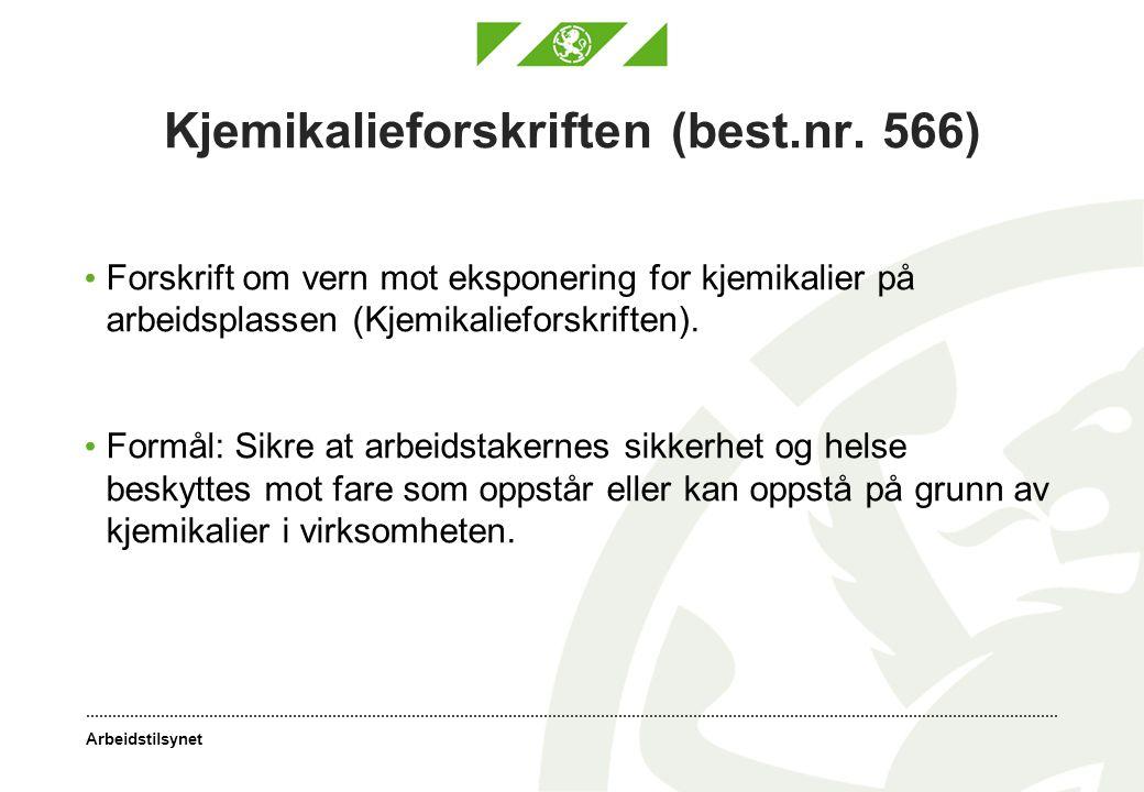 Arbeidstilsynet Kjemikalieforskriften (best.nr. 566) Forskrift om vern mot eksponering for kjemikalier på arbeidsplassen (Kjemikalieforskriften). Form