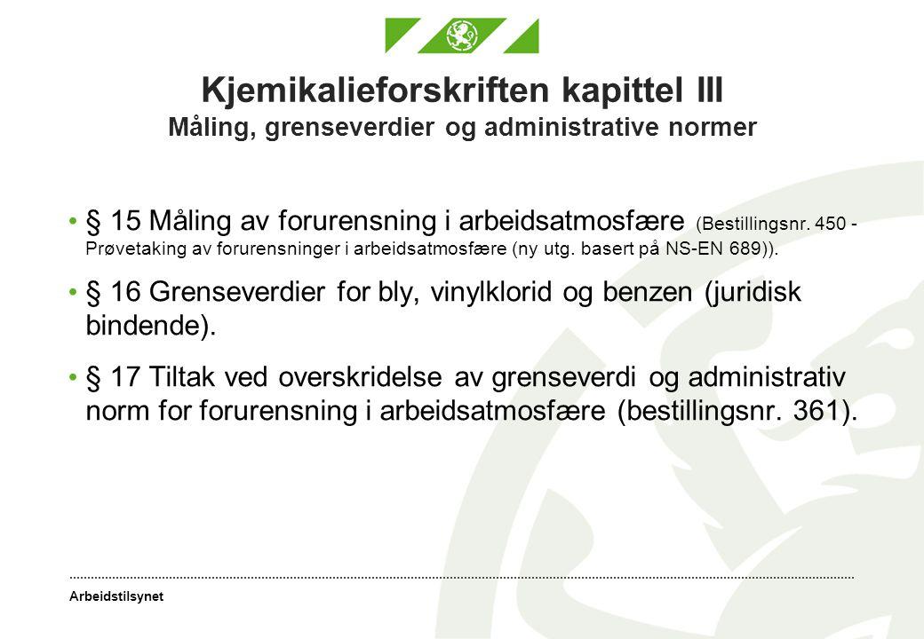 Arbeidstilsynet Kjemikalieforskriften kapittel III Måling, grenseverdier og administrative normer § 15 Måling av forurensning i arbeidsatmosfære (Best