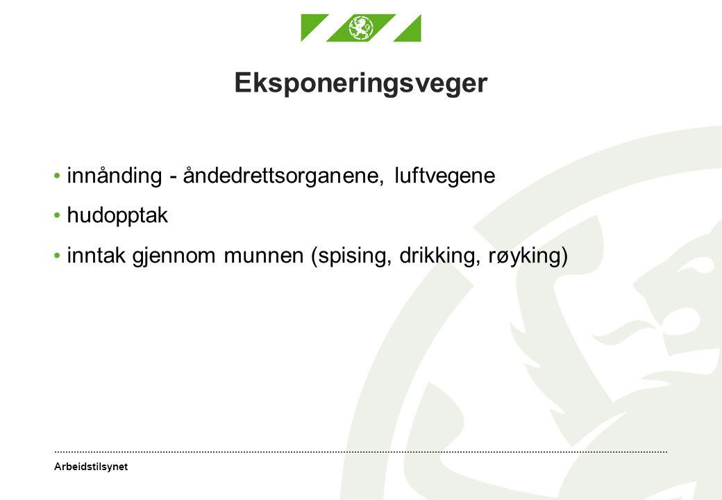 Arbeidstilsynet Eksponeringsveger innånding - åndedrettsorganene, luftvegene hudopptak inntak gjennom munnen (spising, drikking, røyking)