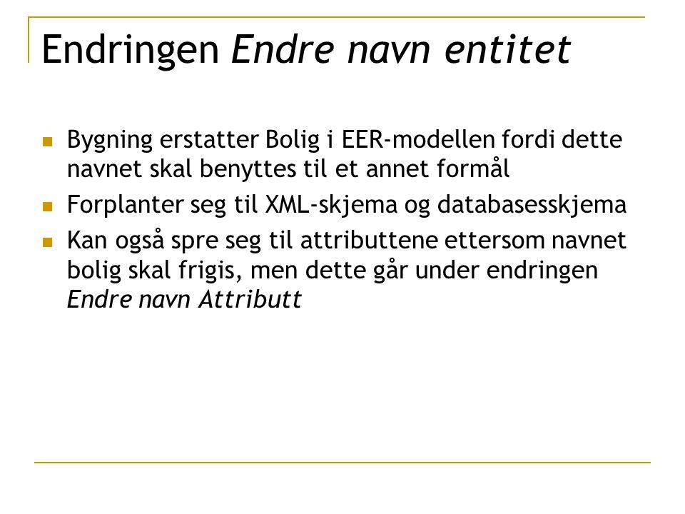 Endringen Endre navn entitet Bygning erstatter Bolig i EER-modellen fordi dette navnet skal benyttes til et annet formål Forplanter seg til XML-skjema og databasesskjema Kan også spre seg til attributtene ettersom navnet bolig skal frigis, men dette går under endringen Endre navn Attributt