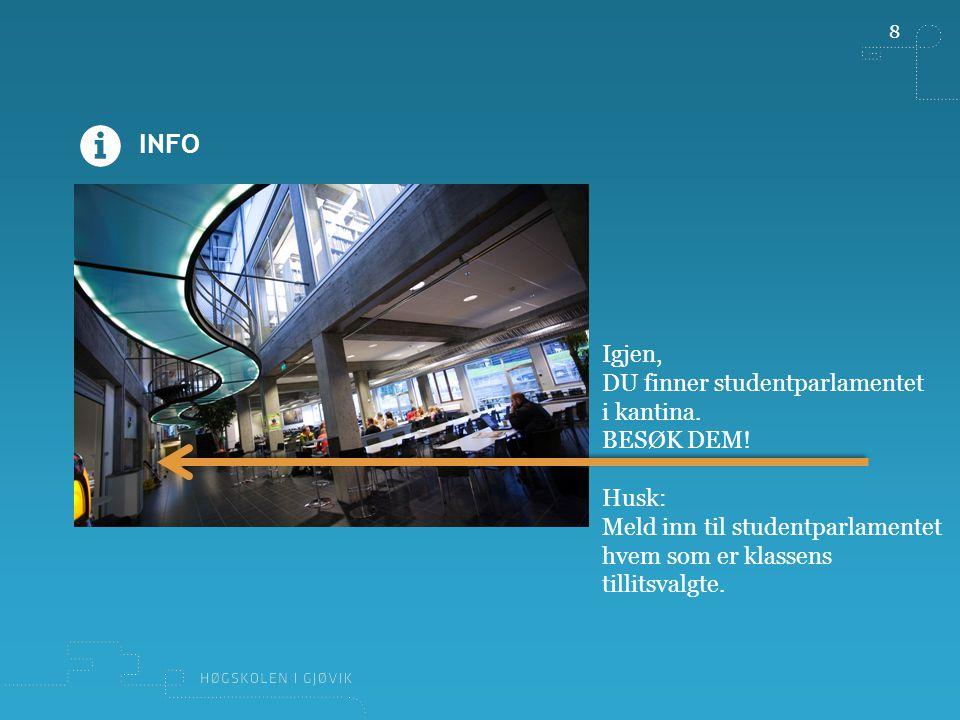 9 RESSURSER Informasjonsfilmen om å være tillitsvalgt finner du  på www.hig.no/student,www.hig.no/student  i rommet Informasjonsrom for alle brukere i Fronter  og på YouTube: http://youtu.be/836_bnUZIFMhttp://youtu.be/836_bnUZIFM Studentparlamentet:  http://www.hig.no/student/velferd/parlamentet http://www.hig.no/student/velferd/parlamentet