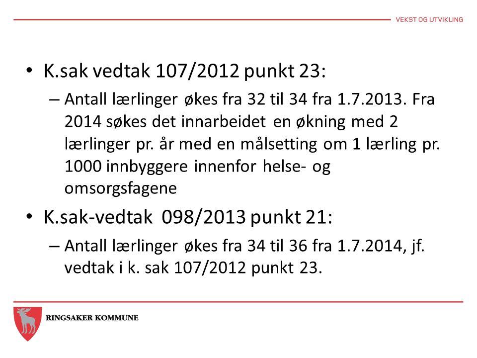 K.sak vedtak 107/2012 punkt 23: – Antall lærlinger økes fra 32 til 34 fra 1.7.2013. Fra 2014 søkes det innarbeidet en økning med 2 lærlinger pr. år me