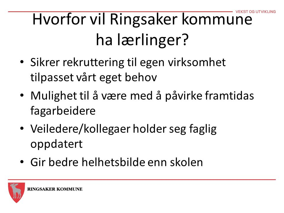 Hvorfor vil Ringsaker kommune ha lærlinger? Sikrer rekruttering til egen virksomhet tilpasset vårt eget behov Mulighet til å være med å påvirke framti