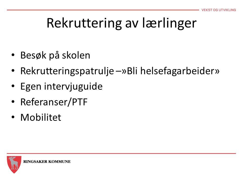 Rekruttering av lærlinger Besøk på skolen Rekrutteringspatrulje –»Bli helsefagarbeider» Egen intervjuguide Referanser/PTF Mobilitet