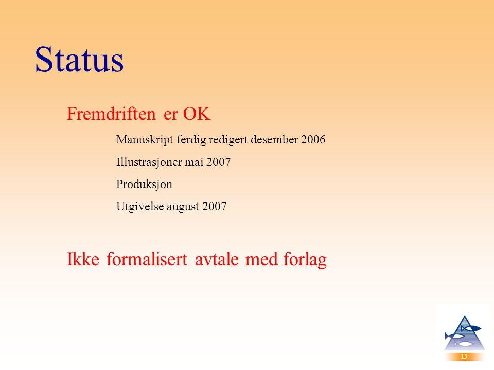 13 Status Fremdriften er OK Manuskript ferdig redigert desember 2006 Illustrasjoner mai 2007 Produksjon Utgivelse august 2007 Ikke formalisert avtale med forlag