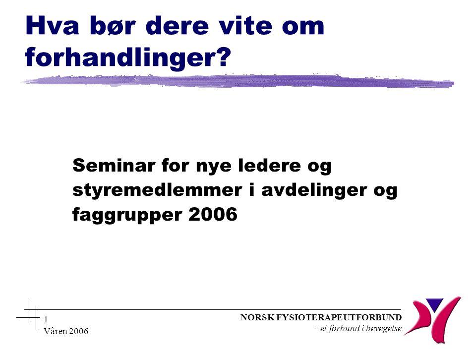 NORSK FYSIOTERAPEUTFORBUND - et forbund i bevegelse Våren 2006 1 Hva bør dere vite om forhandlinger.