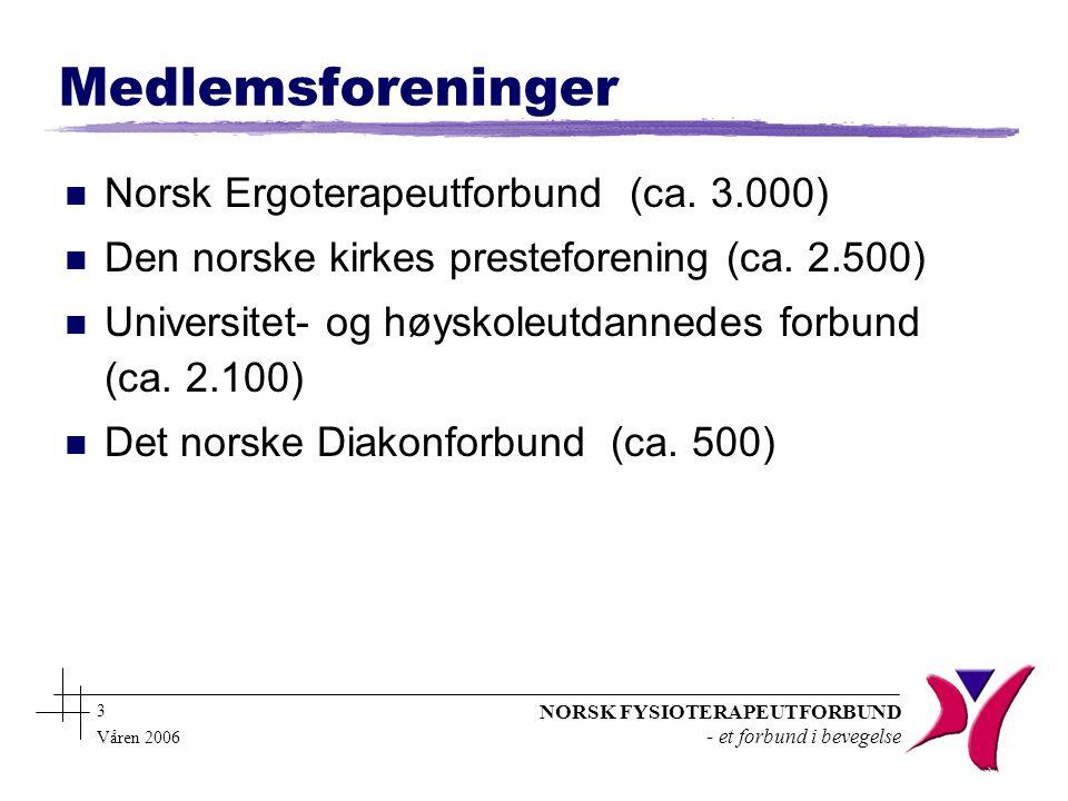 NORSK FYSIOTERAPEUTFORBUND - et forbund i bevegelse 3 Våren 2006 Medlemsforeninger n Norsk Ergoterapeutforbund (ca.