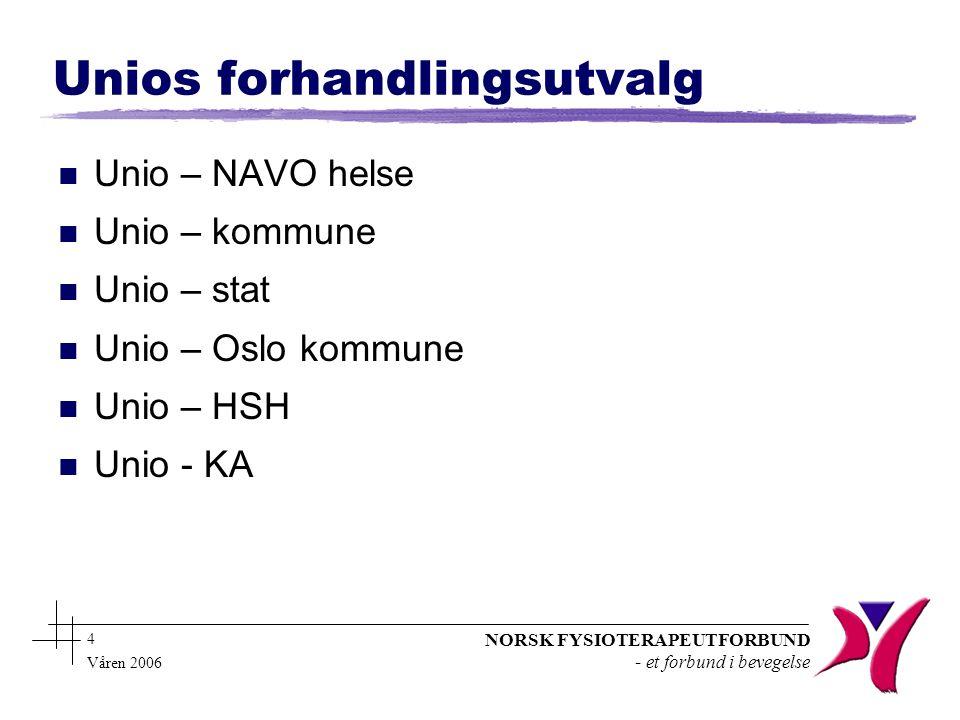 NORSK FYSIOTERAPEUTFORBUND - et forbund i bevegelse 4 Våren 2006 Unios forhandlingsutvalg n Unio – NAVO helse n Unio – kommune n Unio – stat n Unio – Oslo kommune n Unio – HSH n Unio - KA