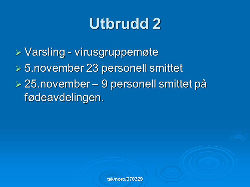 tsk/noro/070329 Utbrudd 2  Varsling - virusgruppemøte  5.november 23 personell smittet  25.november – 9 personell smittet på fødeavdelingen.