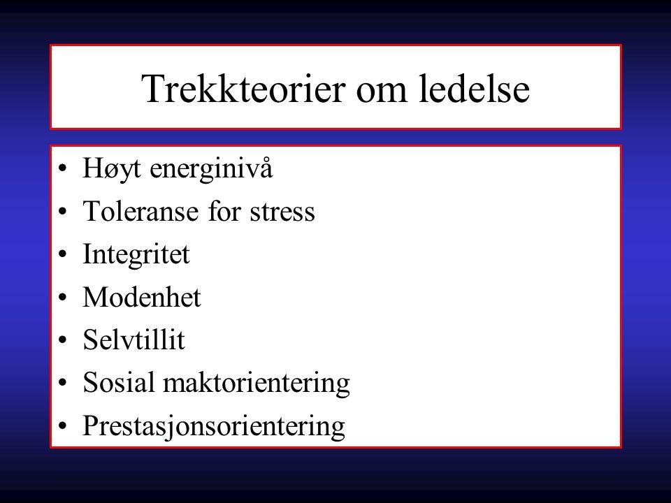 Trekkteorier om ledelse Høyt energinivå Toleranse for stress Integritet Modenhet Selvtillit Sosial maktorientering Prestasjonsorientering