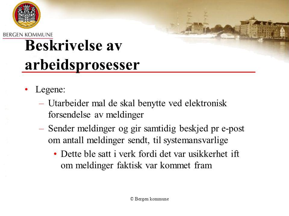 © Bergen kommune Beskrivelse av arbeidsprosesser Systemansvarlige: –Sjekker innboksen daglig, senest kl 14.