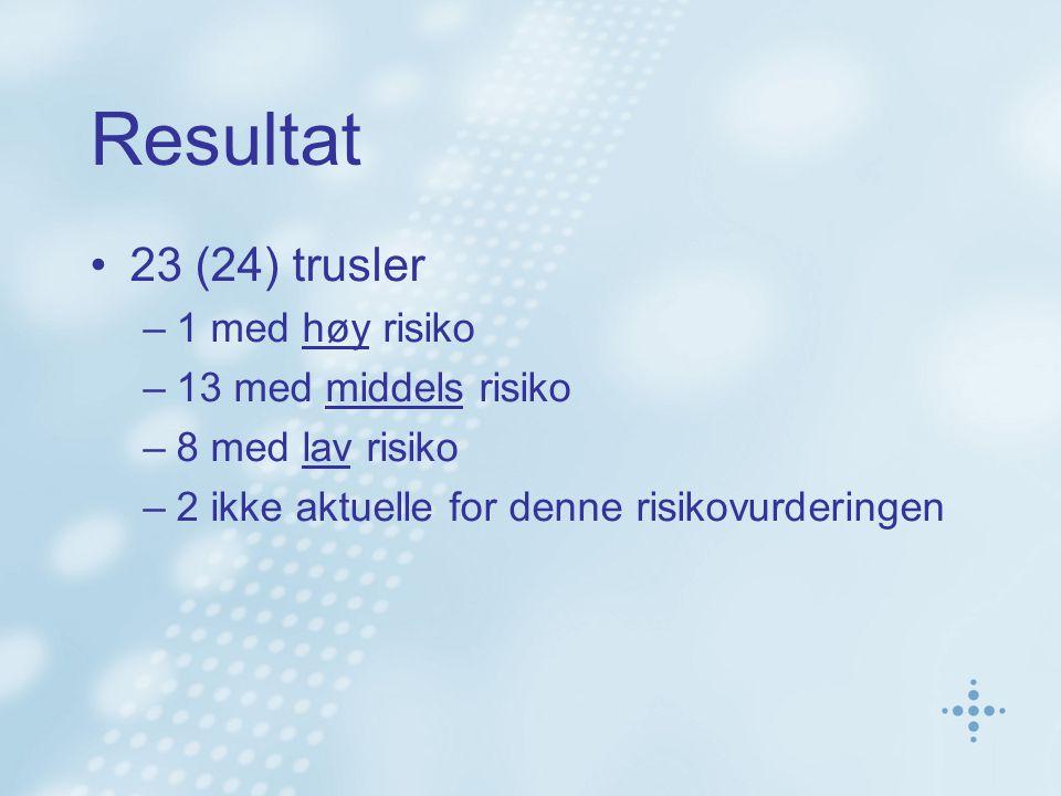 Resultat 23 (24) trusler –1 med høy risiko –13 med middels risiko –8 med lav risiko –2 ikke aktuelle for denne risikovurderingen
