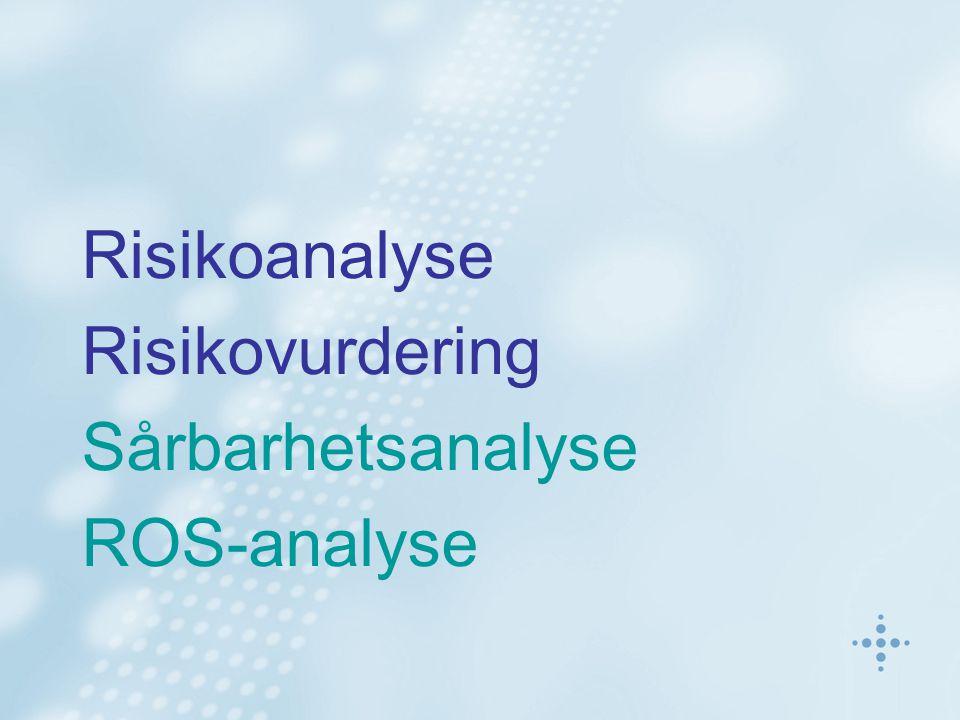 Risikoanalyse Risikovurdering Sårbarhetsanalyse ROS-analyse