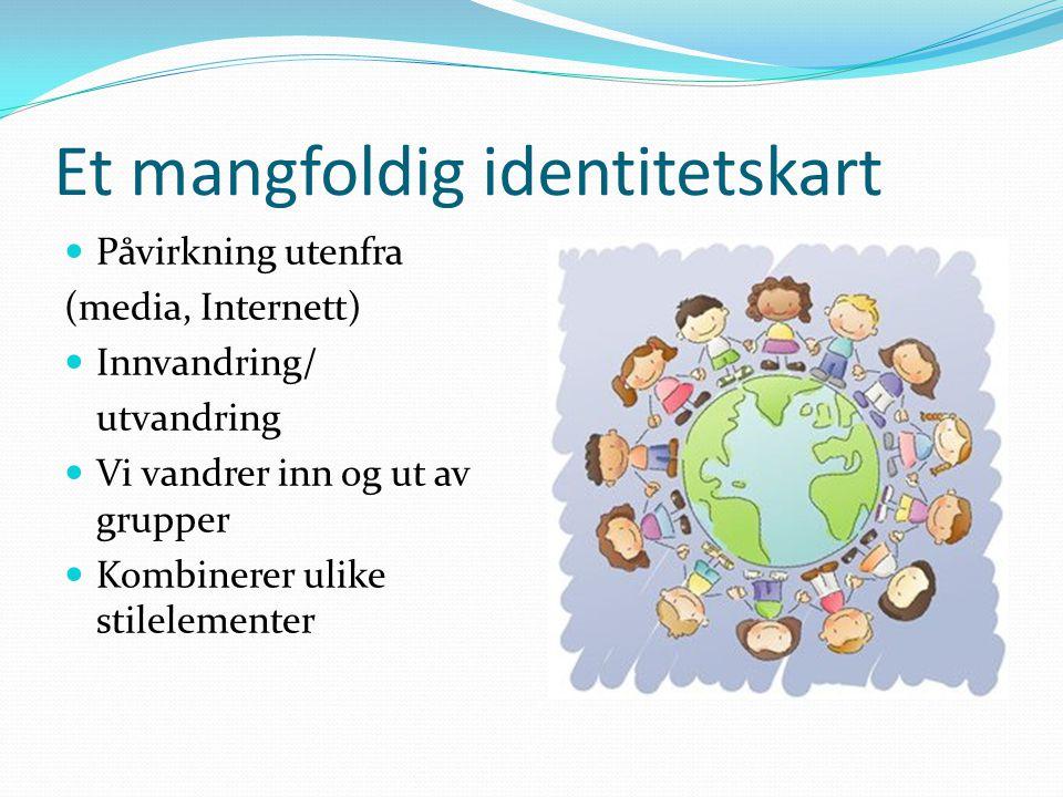 Et mangfoldig identitetskart Påvirkning utenfra (media, Internett) Innvandring/ utvandring Vi vandrer inn og ut av grupper Kombinerer ulike stilelemen