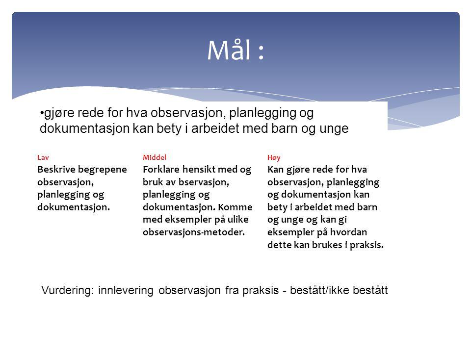 LavMiddelHøy Beskrive begrepene observasjon, planlegging og dokumentasjon. Forklare hensikt med og bruk av bservasjon, planlegging og dokumentasjon. K