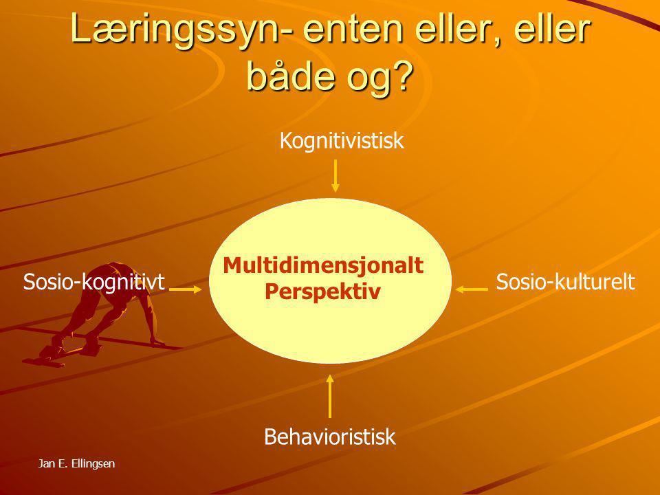Læringssyn- enten eller, eller både og? Multidimensjonalt Perspektiv Kognitivistisk Sosio-kognitivtSosio-kulturelt Behavioristisk Jan E. Ellingsen