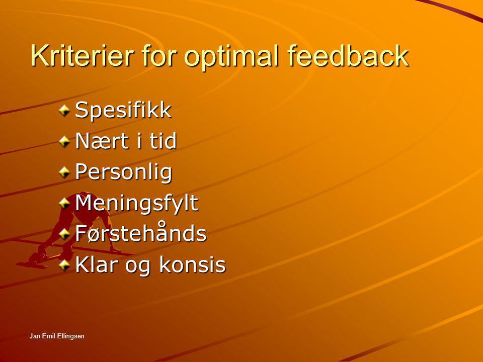 Kriterier for optimal feedback Spesifikk Nært i tid PersonligMeningsfyltFørstehånds Klar og konsis Jan Emil Ellingsen