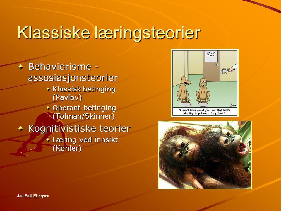 Klassiske læringsteorier Behaviorisme - assosiasjonsteorier Klassisk betinging (Pavlov) Operant betinging (Tolman/Skinner) Kognitivistiske teorier Lær