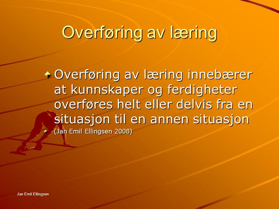 Overføring av læring Proaktiv overføring Retroaktiv overføring Negativ overføring-interferens Proaktiv hemning Retroaktiv hemning Jan Emil Ellingsen