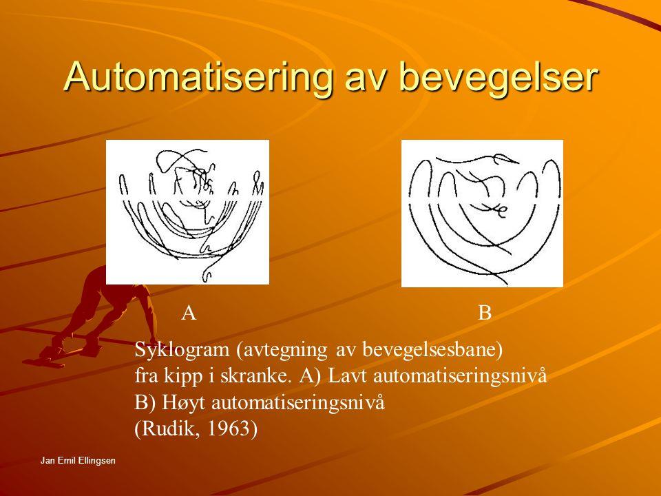 Motorisk læring: Ulikheter i konsentrasjonsretning mellom dyktige utøvere og nybegynnere A B C D A - indikerer utøver på høyt nivå, bevegelsene er godt automatisert D - indikerer utøver på lavt nivå, tidlig innlæringsfase Jan Emil Ellingsen