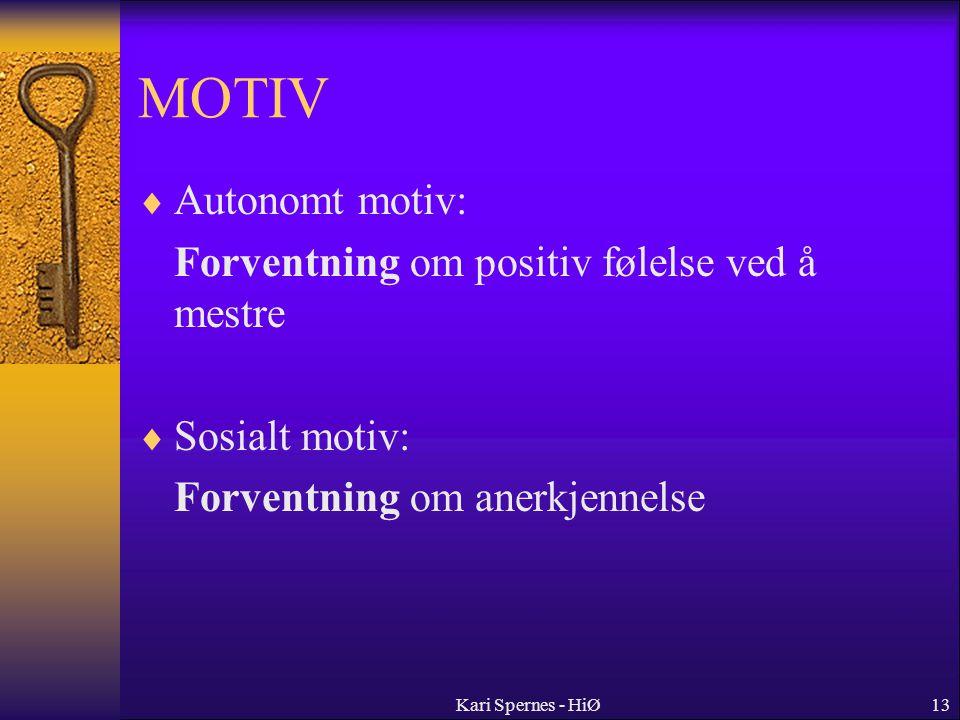 13 MOTIV  Autonomt motiv: Forventning om positiv følelse ved å mestre  Sosialt motiv: Forventning om anerkjennelse Kari Spernes - HiØ
