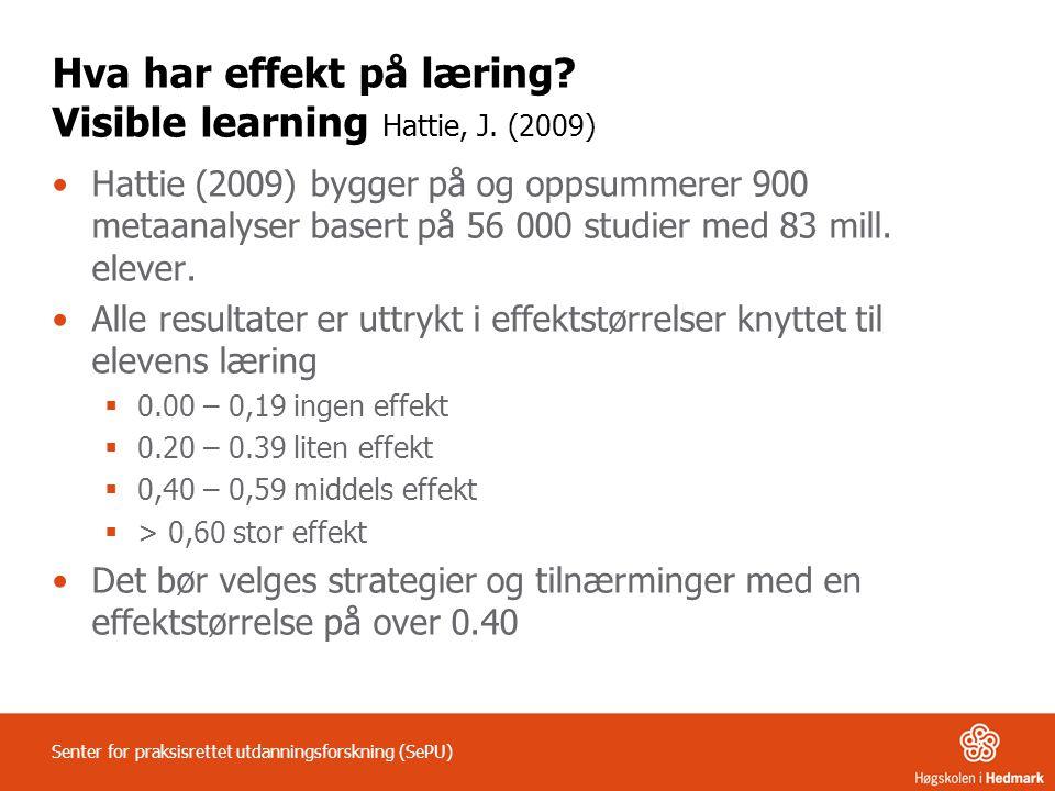 Hva har effekt på læring? Visible learning Hattie, J. (2009) Hattie (2009) bygger på og oppsummerer 900 metaanalyser basert på 56 000 studier med 83 m