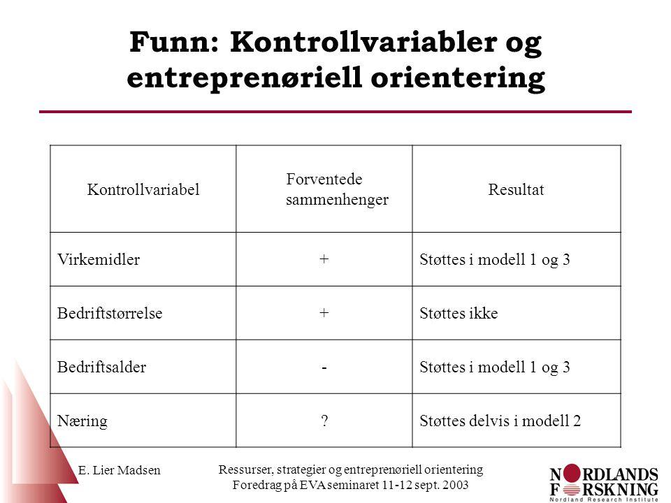 E. Lier Madsen Ressurser, strategier og entreprenøriell orientering Foredrag på EVA seminaret 11-12 sept. 2003 Funn: Kontrollvariabler og entreprenøri